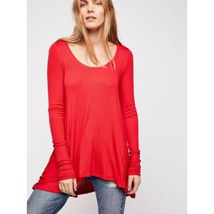Free People January Red Ribbed Long Sleeve Tunic